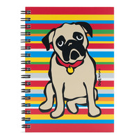 Pug on Stripes Spiral Notebook