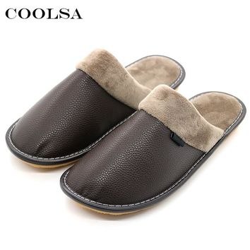 Coolsa Winter Men Leather Cotton Slippers Soft PU Short Plush Flat Oxford Non-slip Home Slippers Waterproof Keep warm Flip Flops