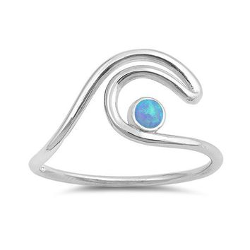 Sterling Silver Ocean Wave Ring with Round Created Blue Opal