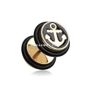 A Pair of Golden Sailor Anchor Steel Fake Plug with O-Rings