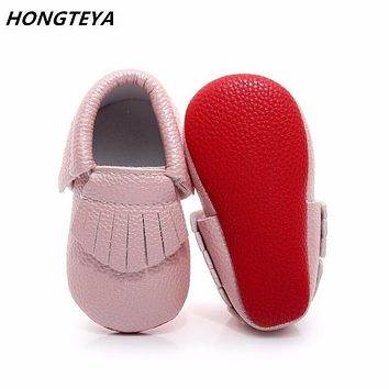 Honteya red bottom PU leather Newborn baby girls shoes lovely tassel first walkers baby boy moccasins 0-2T toddler shoes