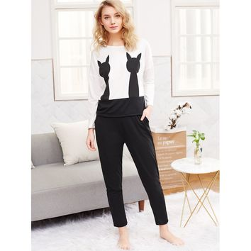 Two Tone Long Pajama Set B&W