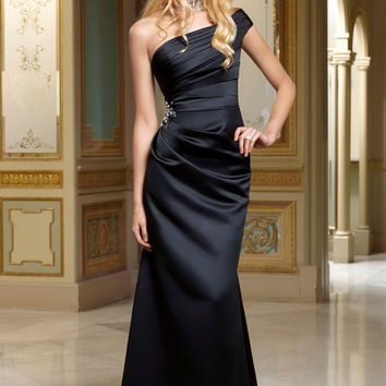 Free Shipping Fit and Flare One Shoulder Black Floor Length Bridesmaid Dress Custom Made