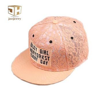 joejerry Harajuku Lace Floral Wome Baseball Cap Leather Snapback Caps Cute Letter Hat Girls Free Size