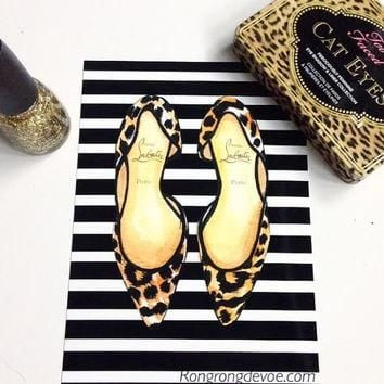 Christian Louboutin art, Leopard shoes art,Fashion Illustration,Fashion Poster,Fashion