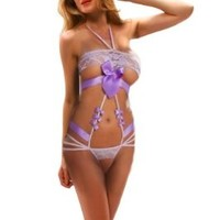 Amour- Sexy Lingerie Women Strings Lace Teddy & Bow Knots (Purple)
