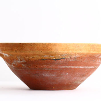 19th C Antique French Pottery Bowl - Rustic Decor Mixing Bowl