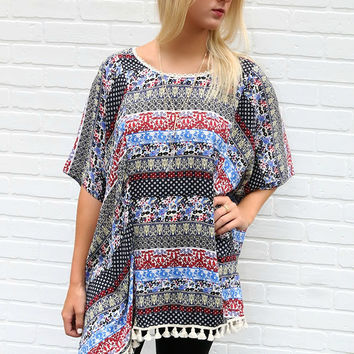Aria Oversized Multiprint Tunic Top With Tassels