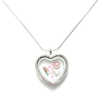 Glass Heart Floating Locket Pendant Chain Necklace Jewelry