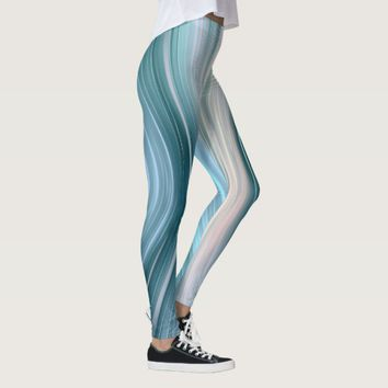 Aqua Teal Futuristic Driving Dreams Leggings
