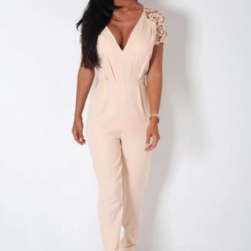 Bonnie Nude Lace Detail Jumpsuit | Pink Boutique
