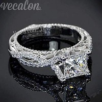 Vecalon 2016 Romantic Antique Female ring 2ct AAAAA Zircon Cz 925 Sterling Silver Engagement wedding Band ring for women