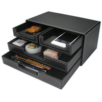 Ever Perfect 3-Layer 4-Drawer Leather Office Stationery Items Storage Drawer Fashion Desktop Sundries Organizer Box Black A302