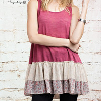 Sleeveless Floral Ruffle Tunic - Dark Pink