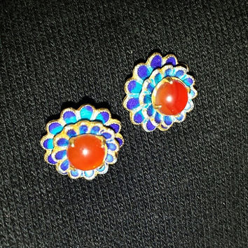 14K Spessarite Garnet Earrings 1920s Studs Yellow Gold Orange Cabochon Stones 2.5 Grams Blue Enamel 14KT Vintage Jewelry Gift Rare Estate