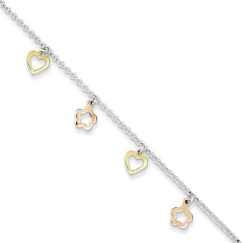 925 Sterling Silver Gold Plated Heart and Flower Charms Ankle Bracelet