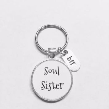 Soul Sister Bff Best Friend Sister Gift Keychain
