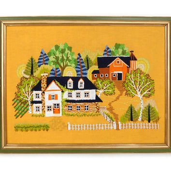 Vintage Framed Crewel Embroidery -1970s Farmhouse Scene - Cottage Chic Wall Hanging - Gold and Green - Fall Decor - Bicentennial