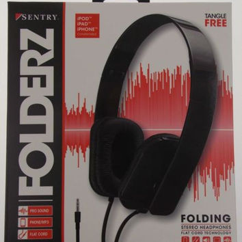 Sentry Folderz Folding Stereo Headphones Black DLX20 Tangle Free Flat Cord 3.5mm