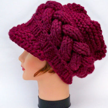 Cable Knit Beanie - Women's Newsboy Cap In Merlot - Chunky Hat With Brim - Brimmed Beanie - Knit Accessories
