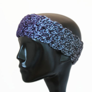Crochet Handmade Headband, Earwarmer, Thick, Navy Blue, Royal Blue, Dark Gray, Charcoal, Headwarmer, Winter Accessories - READY TO SHIP