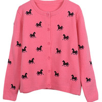 Hot Pink Horse Embroidery Cardigan - Choies.com