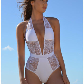 Sexy Lace One-pieces Swimsuits XXL Bathing Suits Women High Cut Monokini Swim Suits Lace White/Black Swimsuit 1 Pieces Trikinis