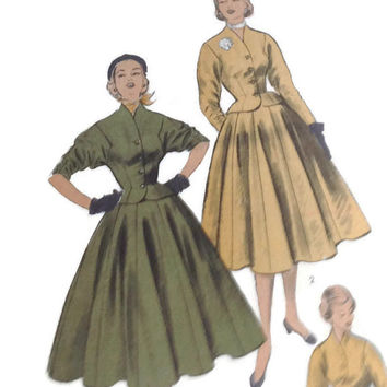 Vintage Sewing Pattern, Advance, 6024, Misses Full Skirt with Panels and Fitted Jacket, Size 13 Bust 31 Retro Fashion, Hollywood Glamour