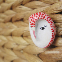 Owl- Bird brooch -pink dots owl brooch- miniature animal head