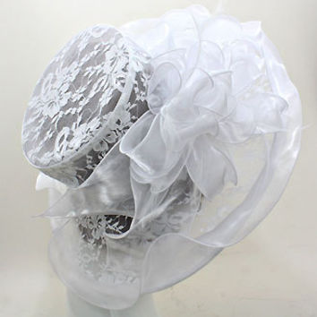 New 2015 White Wedding Dress Hat Kentucky Derby Hat Women Wide Brim Church Hat New