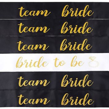 6 PACK DOUBLE LAYER BACHELORETTE SASH SET: bride to be sash/ bridesmaid sash, team bride or bride tribe sash  bachelorette party favors