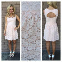 Pale Pink Lace Open Back Dress