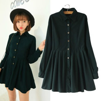 Japanese Korean Style College School All Match Corduroy Dress Lady Long Sleeve Sweet Navy 2016 Fashion Dress Women Winter Dress