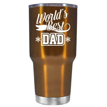 Worlds Best Dad on Translucent Copper 30 oz Tumbler Cup