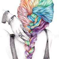 Colorful Braid drawing by KristaRaeArt on Etsy