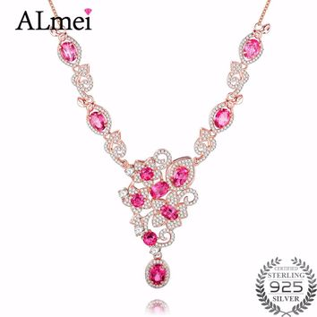 Almei 10pcs Topaz 925 Sterling Silver Sakura Flower Necklaces & Pendants Cherry Blossoms With Rose Gold Color Free Box 40% FN029