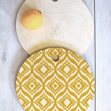 Heather Dutton Trevino Yellow Cutting Board Round