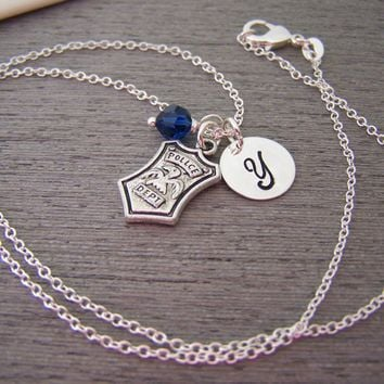 Police Badge Charm Swarovski Birthstone Initial Personalized Sterling Silver Necklace / Gift for Her