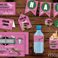 Pink DINOSAUR Party Package Birthday Girl's Dino Dig T-Rex Explorer Invitation Decoration Printable Collection DOWNLOAD Editable Personalize
