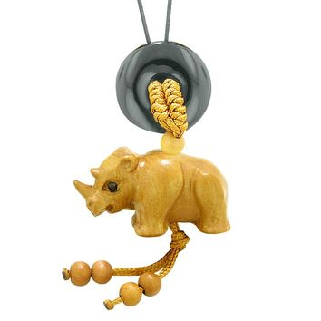 Baby Rhino Cute Good Luck Car Charm or Home Decor Black Agate Lucky Coin Donut Protection Magic Amulet