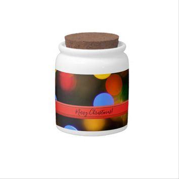 Multicolored Christmas lights. Add text or name. Candy Dish