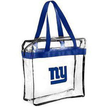NFL New York Giants Clear Plastic Zipper Tote Bag NFL 2017 Stadium Approved