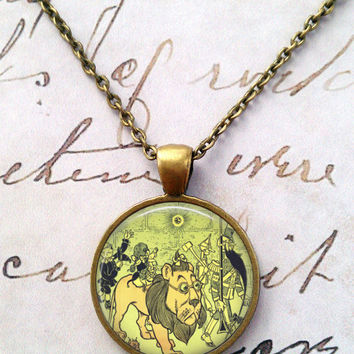 Wizard of Oz Necklace, Flying Monkeys, Wicked Witch, Ruby Slippers, Dorothy, Steampunk, Literary Quotes, Oz T1179