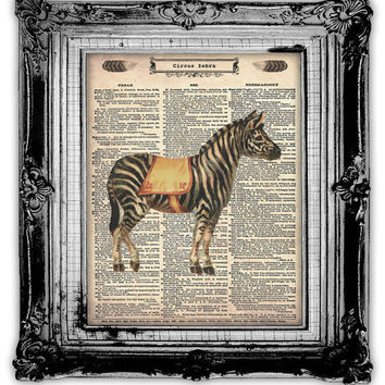 Upcycled Vintage Dictionary Book Page Art Circus Zebra by FoxHunterStudios