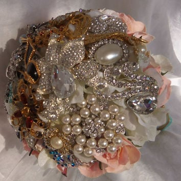 Wedding Brooch Bouquet- Deposit on made to order Crystal Bling Brooch Bouquet- Diamond Jeweled Bridal Broach Bouquet