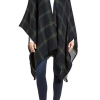 Modena Reversible Plaid & Herringbone Cape | Nordstrom