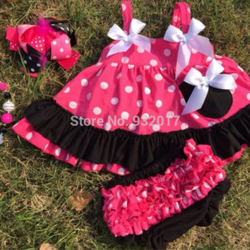 Minnie Mouse Outfit, Swing Top, 1st Birthday, Minnie Mouse Birthday, Cake Smash Outfit WITH Matching bubblegum necklace and OTT Bow!