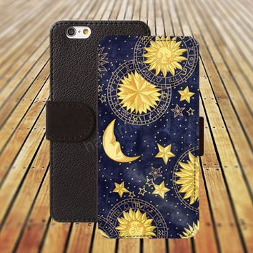 cartoon moon and sun iphone 5/ 5s iphone 4/ 4s iPhone 6 6 Plus iphone 5C Wallet Case , iPhone 5 Case, Cover, Cases colorful pattern L053