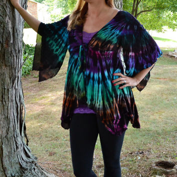 Tie Dye Top, Kimono Sleeve Jacket, Bohemian, Hippie Clothes