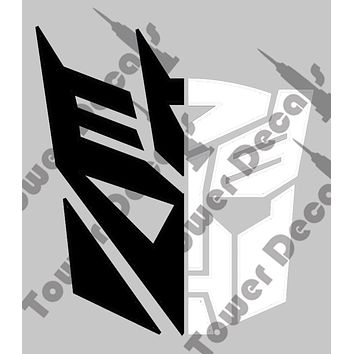 "Transformer Autobot Decepticon Yin Yang 6"" Black White Vinyl Decal 2 color"